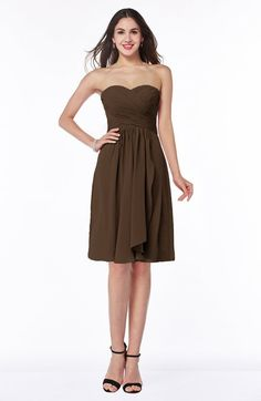Chocolate Brown Modern A-line Strapless Zip up Chiffon Pleated Plus Size Bridesmaid Dresses