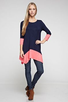 Navy and coral trim shark bite tunic {$30 shipped, S-M-L} Purchase here: https://www.facebook.com/photo.php?fbid=10153914760773686&set=pcb.1047773588615250&type=3&theater