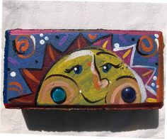 Items similar to Sun Brick on Etsy Painted Bricks Crafts, Brick Crafts, Painted Pavers, Brick Projects, Painted Rocks, Hand Painted, Painting Concrete, Stone Painting, Rock Painting