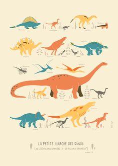 Affiche Poster Illustration Dinosaure pour enfant - Clemence Dupont
