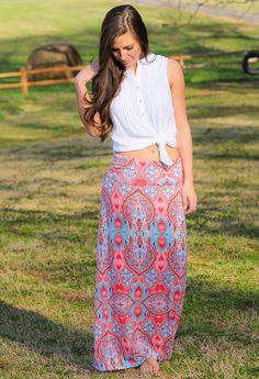 Free Life Maxi Skirt-Coral - $32.00