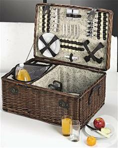 6 Person Wicker Cane Picnic Basket - Dark Brown