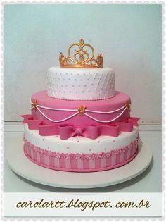 Carol'art: Bolo Fake em biscuit, tema Princesa / Cake Princess