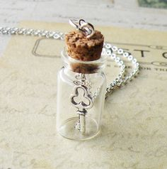 The Last Missing Key Steampunk Bottle Necklace