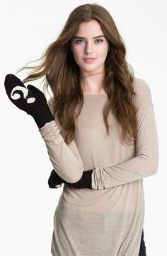 kate spade new york 'big apple - punctuation' mittens | Nordstrom