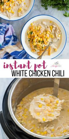 This Instant Pot White Chicken Chili is creamy and hearty wi.- This Instant Pot White Chicken Chili is creamy and hearty with just the right amount of spice! Loaded with lean chicken, white beans, green chiles and corn it's sure to be a crowd pleaser! Chicken Breast Recipes Healthy, Recipe Chicken, Healthy Recipes, Chicken Recipe Instant Pot, Easy Recipes, Best Instant Pot Recipe, Chili Recipes, Soup Recipes, Steak Recipes