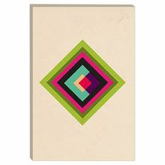 Add a pop of eye-catching style to your entryway or living room with this contemporary-chic canvas print, showcasing a multicolor geometric motif. Made in the USA.  Product: Canvas printConstruction Material: Pine wood and cotton canvasFeatures:  Handmade in the USAIncludes hanging accessoriesAnti-fade ultra chrome ink