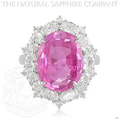 9.86ct Natural Untreated Pink Sapphire Platinum Ring, Dia 2.30ct. total (J531)