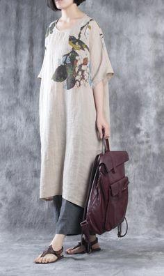 Nude linen maxi dress plus size linen dresses floral caftans