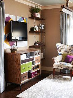 Create a mini entertainment center by turning your TV wall into a focal point with a console that can double as a serving surface when you're entertaining. - 20 Small Space Hacks to Make Your Studio Apt Seem HUGE via Brit + Co. Small Living, Living Spaces, Living Room, Small Apartments, Small Spaces, Studio Apartment Decorating, Apartment Ideas, Small Room Design, Deco Table