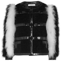 Philosophy di Lorenzo Serafini Feather and faux leather-trimmed... (5.839.965 COP) ❤ liked on Polyvore featuring outerwear, jackets, white and black jacket, cropped jacket, boucle jacket, slim fit jackets and feather jacket