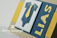 STAMPIN' UP! Karte mit Something for Baby und Framelits Baby's first und Metro Type Alphabet