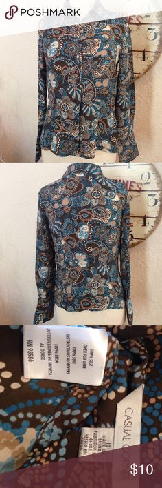 Casual Corner 100% Silk Paisley Blouse excellent condition. No rips, tears or stains. All my items are ready to be sent out as soon as they are posted so if you buy before 4PM CST it will get shipped out same day except for Sunday's . Casual Corner Tops Blouses