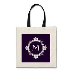 Snowflake Wreath Monogram in Dark Purple & White Canvas Bags