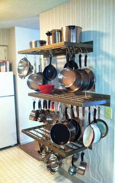 20 Trendy Kitchen Organization Ideas Pots And Pans Projects Kitchen Rack, Kitchen Corner, Kitchen Shelves, Diy Kitchen, Kitchen Interior, Kitchen Storage, Kitchen Decor, Kitchen Cabinets, Kitchen Ideas