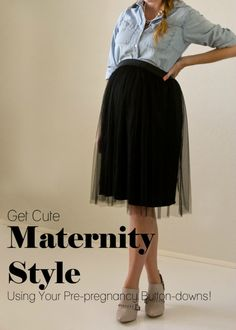 Get Cute Maternity Style Using Your Pre-Pregnancy Button-Downs! Get-Cute-Maternity-Style-Using-Your-Prepregnancy-Button-Downs Pre Pregnancy, Pregnancy Outfits, Mom Outfits, Casual Outfits, Pregnancy Style, Cute Maternity Style, Maternity Wear, Maternity Fashion, Maternity Skirt