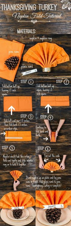 Add a little flair to your Thanksgiving table with this Thanksgiving Turkey Napkin Fold Tutorial