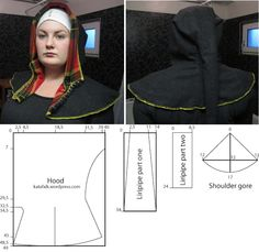 The pattern is a mix of Herjolfsnes no.72 from Greenland and hood no. 246 from the excavations in London. It is a tight hood but it can be worn both closed and open with the front part turned back.