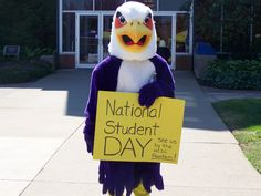 Tuffy gets involved in the National Student Day celebration at Ashland University's Bookstore