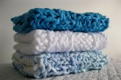 3 Cotton Knit Dish Cloths Blue White Multi Blue by OurCozyCottage, $10.00