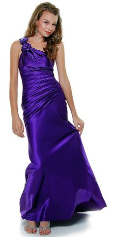 One Shoulder Formal Dress Purple Long Satin Gown Ruched Rose Strap