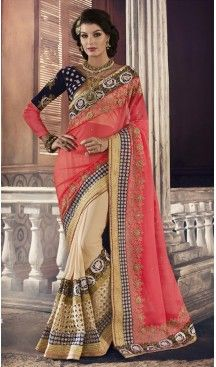 Women Party Wear Sarees in Georgette and Tan Brown with Stitched Blouse…