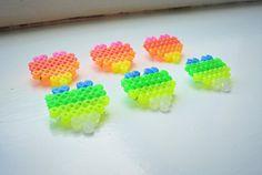 Hama Beads Neon Heart Brooch - £3 on Etsy