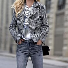 Helena of Brooklyn Blonde plays with patterns in our Plaid Jacket.