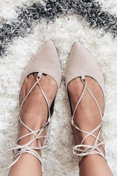 Add edge to simple flats with this pointed leather-look pair. Comes with ghillie lace-up tie the ultimate wardrobe necessity. Man made Suede. Spot clean only. - Color: Beige