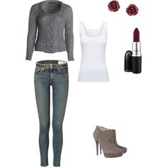 Fall outfit. Gray, burgundy, and blue jeans