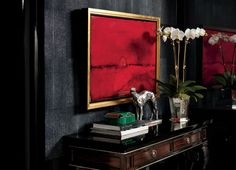 red with gold details on grey wall  AK. -Ralph Lauren Shanghai ~ Fall 2012  www.PacificHeightsPlace.com