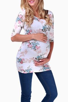 Cream-Floral-3/4-Sleeve-Maternity-Top from Pink Blush Maternity - would look pretty with a white or pink skirt, maybe even aqua