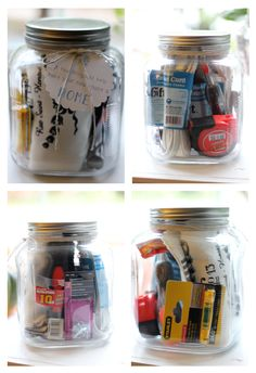Great gift ideas in a jar for new home buyers. Maybe not for like your best friends but idea for acquaintances. . .