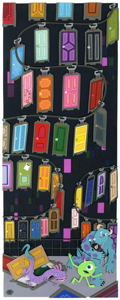 Jared Andrew Schorr Paper Craft Art Illustration Running From Randal Disney Monsters Inc.