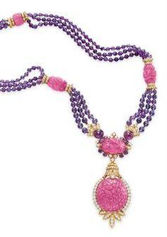 Pink Tourmaline, amethyst, & diamonds. Van Cleef & Arpels