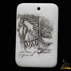 Beautiful  Necklace & Pendant Carved & Painted Horse  Natural  Bone Black &White #ZL #Pendant