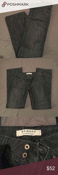 Hudson Made in USA Womens Boot Cut Jeans W170DZM Excellent used condition great pair of jeans inseam 34 waist 14 1/4 rise 9' a little distressed on back pocket and bottom of jeans shown in pictures Hudson Jeans Jeans Boot Cut