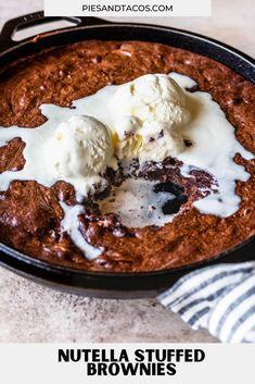 Nutella Brownies Recipe rich brownies stuffed with Nutella #nutella #brownies #chocolate #dessert Nutella Brownies, Brownie Recipes, Sweet Tooth, Ice Cream, Chocolate, Desserts, Food, No Churn Ice Cream, Tailgate Desserts