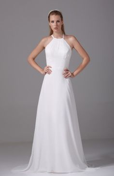 Classic Outdoor Sleeveless Criss-cross Straps Chiffon Plainness Bridal Gowns