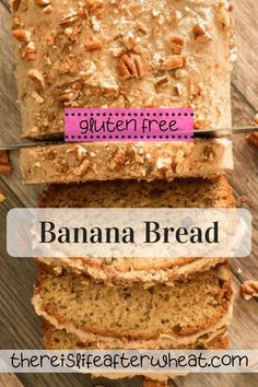This is no ordinary banana bread! The flavors of browned butter, sweet bananas, a tantalizing maple glaze and toasted pecans come together to make the best gluten free banana bread you've ever tasted. Best Gluten Free Desserts, Gluten Free Recipes For Breakfast, Wheat Free Recipes, Gluten Free Treats, Free Breakfast, Bread Recipes, Gluten Free Banana Bread, Gluten Free Flour, Maple Glaze