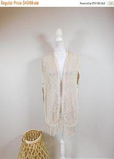 50% OFF WINTER SALE Vintage 90s Tan Brown Crocheted Knitted Long Fringe Hem Holey Sleeveless Tank Top Open Sweater Vest Waistcoat Sz Medium by WearingMeOutVtg on Etsy