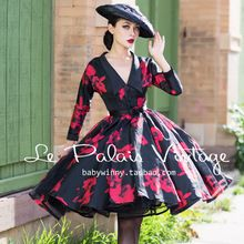 FRETE GRÁTIS Le Palais Elegante Do Vintage 60 s Chiqueiro Alta Cintura Fina preto Flor Vermelha Duas Maneiras De Vestir Tutu Vestido Mulheres Vestidos(China (Mainland))