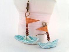 boucles d'oreille origami bateau turquoise en par papierelief