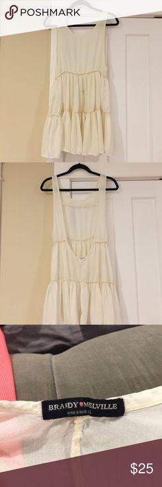 NWOT Brandy Melville cream 2 tier dress NWOT Brandy Melville cream 2 tier dress. One size. Scoop back. Super cute Brandy Melville Dresses Mini