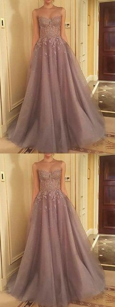 Tulle Appliques Prom Dress, Sleeveless Evening Dresses, Sexy Long Prom Dresses M1109