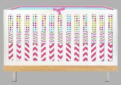 Modern Girl Pink and Aqua Geo (Modern Custom Crib Set)