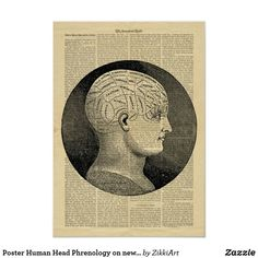Poster Human Head Phrenology on newspaper  #hq  #old #book #illustration #gravure #decor #digital #collage  #quality  #inspiration #retro #antique #vintage  #draw #drawing  #black #white #poster #wallart #Newspaper #paper #walldecor #walldesign
