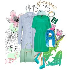 Princess Pisces, underwater colors...DKNY dress, Valentino tweed coat and Brian Atwood heels
