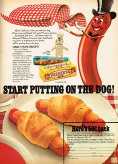 Cheesy Crescent-Wrapped Hot Dogs!  AKA Pigs in a Blanket.  Split the dog open, add cheese, wrap in dough and bake!