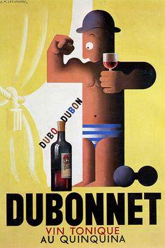 Gouache originale, Etude pour une Affiche créee pour Dubonnet par A.M. Cassandre, 1932
